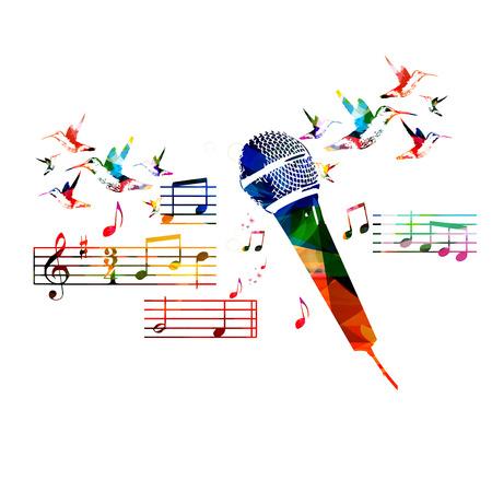 persona cantando: Diseño colorido con el micrófono colibríes Vectores