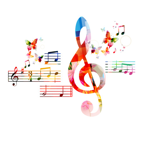 popular music: Colorful G-clef background Illustration