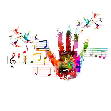 musical ornament: Colorful music background Illustration