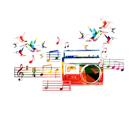 rnabstract: Colorful retro radio design with hummingbirds Illustration