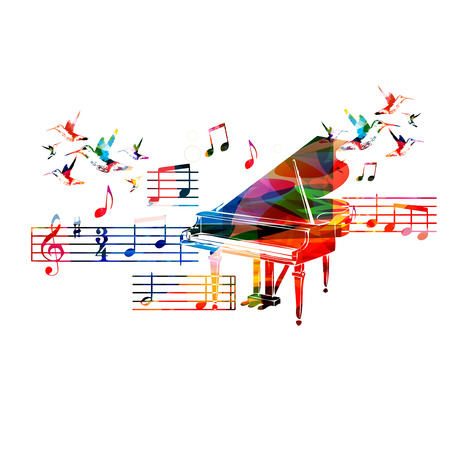 Colorful piano design with hummingbirds Ilustracja