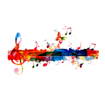 abstract music background: Colorful G-clef background Illustration