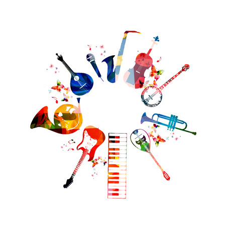 simbolos musicales: Instrumentos musicales de colores de fondo