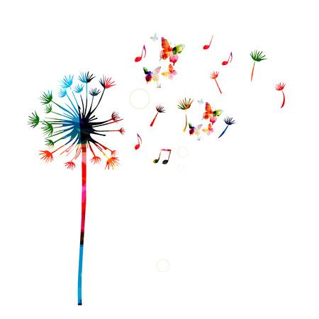 Colorful de pissenlit avec des papillons Vecteurs