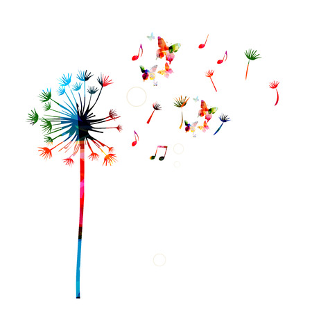 Colorful dandelion background with butterflies