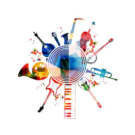 cuernos: Instrumentos musicales de colores de fondo