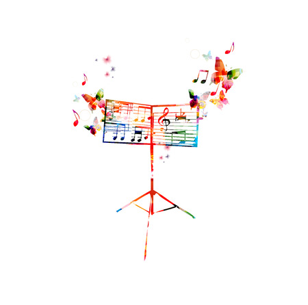 musica clasica: Atril colorido con las mariposas Vectores
