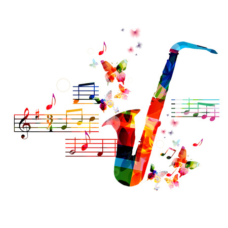 Colorful saxophone design with butterflies Illusztráció