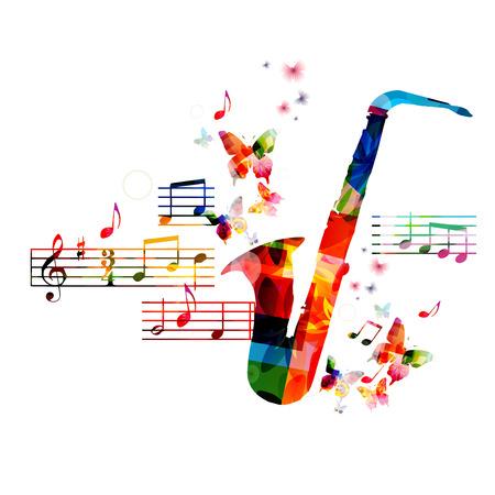 simbolos musicales: Diseño saxofón colorido con las mariposas