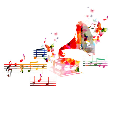 conservatory: Colorful music background with gramophone