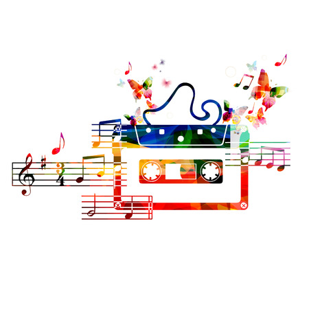 rainbow music: Colorful cassette tape design with butterflies Illustration