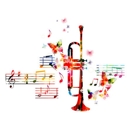 music background: Colorful trumpet design with butterflies Illustration