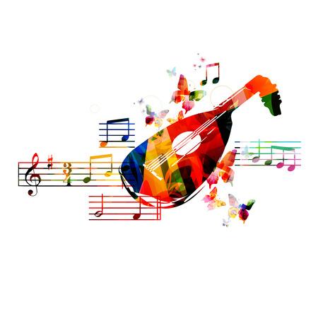 instruments de musique: La conception de luth color� avec des papillons