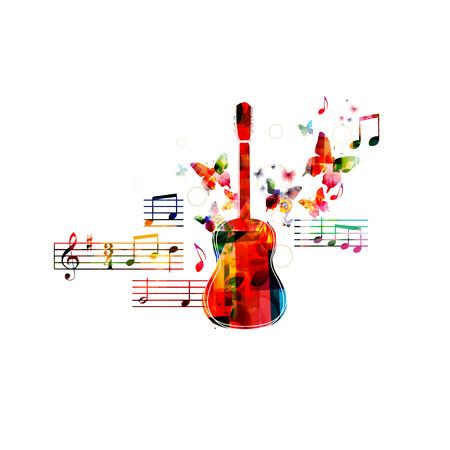 coro: Dise�o de la guitarra colorido con las mariposas Vectores