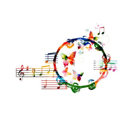 tambourine: Colorful tambourine background Illustration
