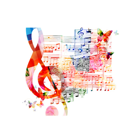 musical notes background: Colorful musical background