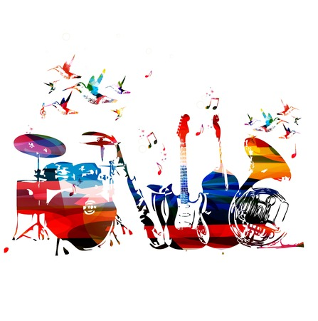 modern art: Colorful music instruments background