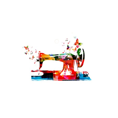 textile machine: Colorful vector sewing machine background with butterflies