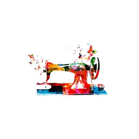 Kleurrijke vector naaimachine achtergrond met vlinders Stockfoto - 38116715