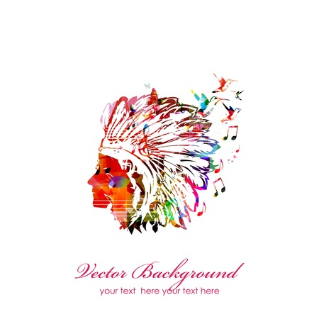Colorful native American head Ilustração