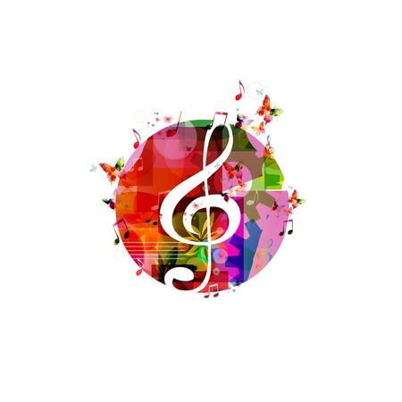 clave de sol: Fondo de música colorido con las mariposas