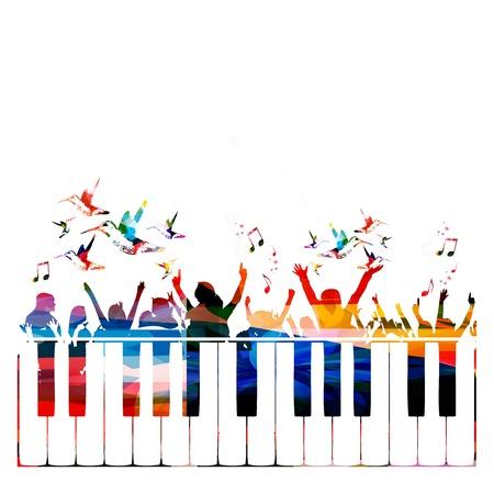 instruments de musique: Colorful background du parti avec les gens silhouettes Illustration