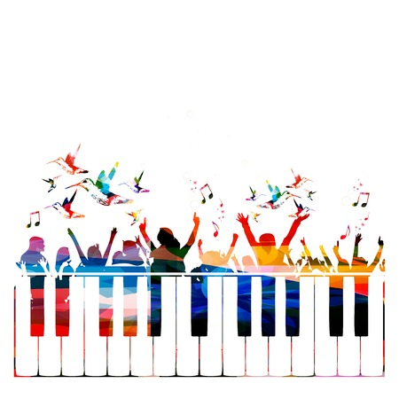 musical notes background: Colorful party background with people silhouettes