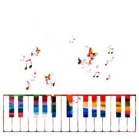Colorful piano vector background with butterflies