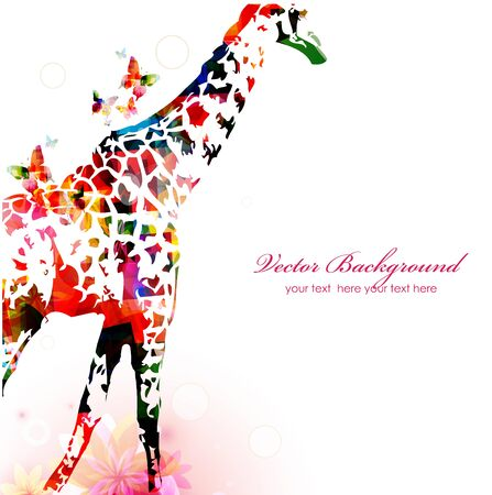 giraffe silhouette: Giraffe silhouette collected from various elements of a flower ornament