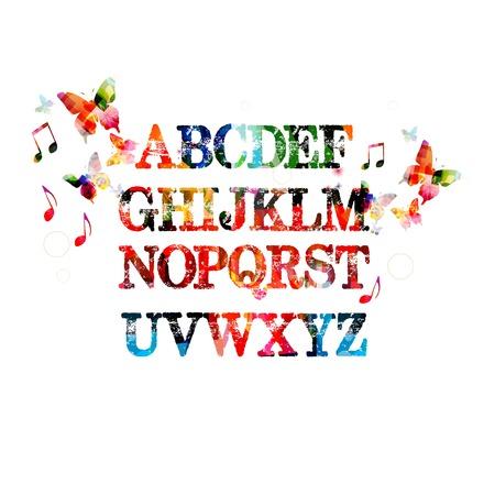 Kleurrijke vector achtergrond alfabet met vlinders Stock Illustratie