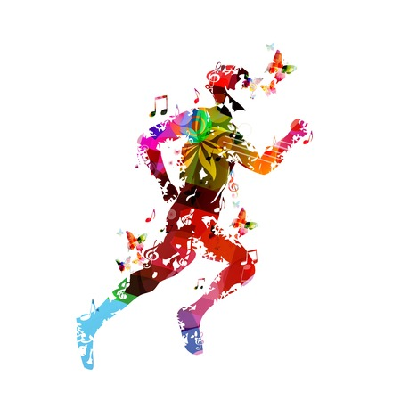 Colorful vector runner silhouette background with butterflies