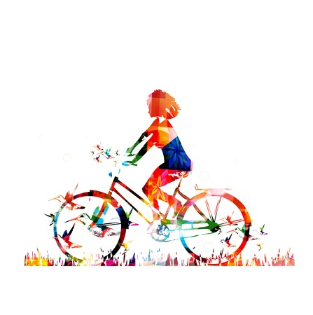 bike cover: Colorful vector girl on a bike background with hummingbirds
