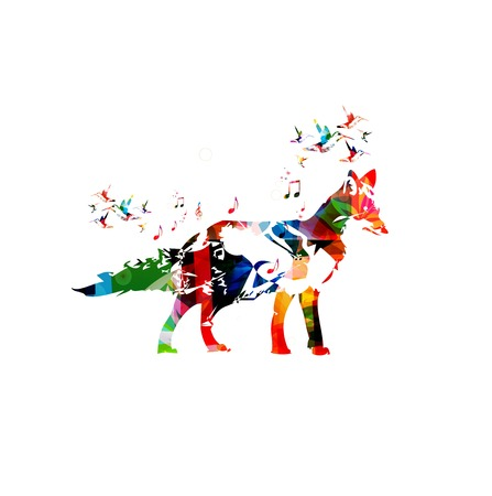 coyote: Colorful fox design with butterflies background