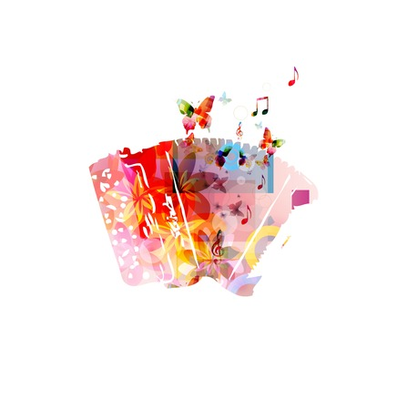 accordion: Colorful music background. Vector