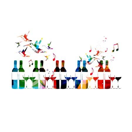 sommelier: Botella colorida del vector y fondo de cristal con los colibr�es. Vectores