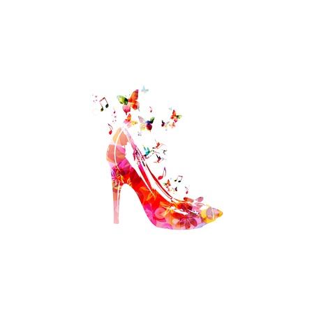 Kleurrijke vector schoen achtergrond met vlinders