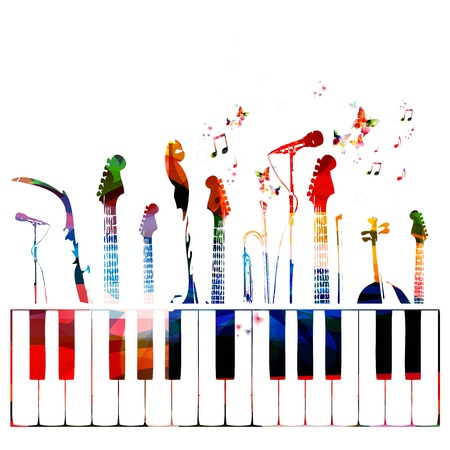 musical notes background: Colorful music instruments background