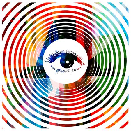 big brother: Colorful hypnotic eye vector background