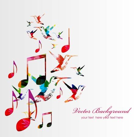 notas musicales: Fondo colorido de la m�sica con los colibr�es. Vector