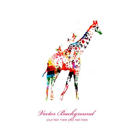 Giraffe silhouette collected from various elements of a flower ornament Vector