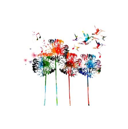 Abstract colorful dandelion background Illusztráció