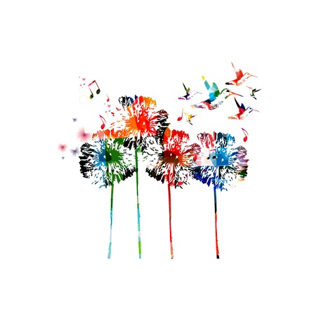Abstract colorful dandelion background Vettoriali