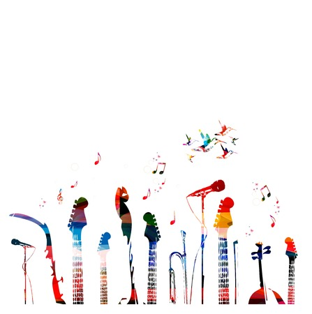 popular music: Colorful music instruments background.
