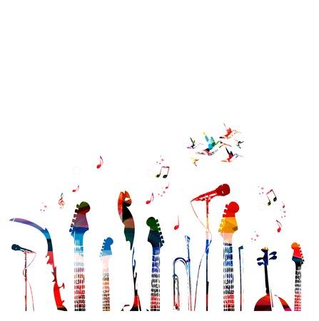 musica clasica: Instrumentos musicales de colores de fondo.