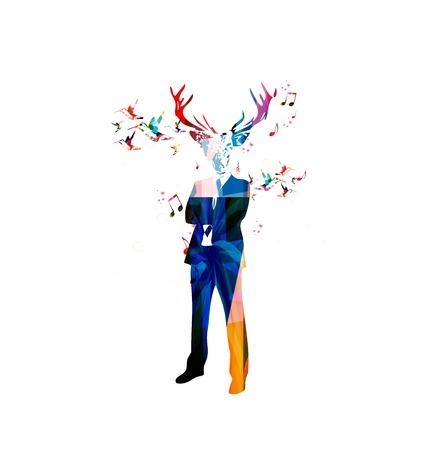 dear: Colorful vector man with dear\