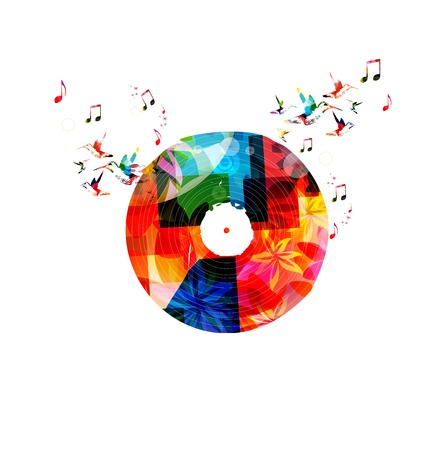 record player: Colorful music background with vinyl LP record. Vector