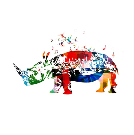 Colorful vector rhino background with hummingbirds