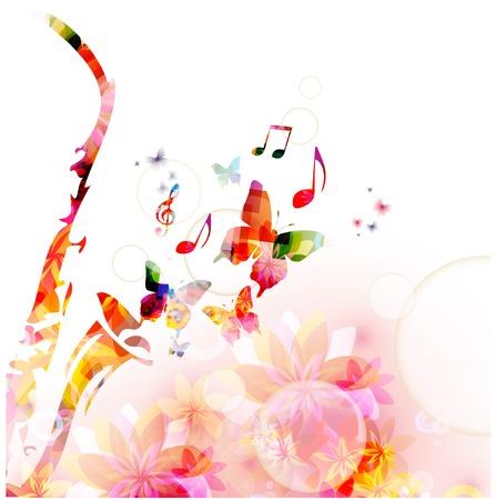nota musical: Fondo colorido de la música con el saxofón. Vector Vectores