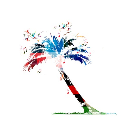 bole: Colorful vector palm tree with butterflies background