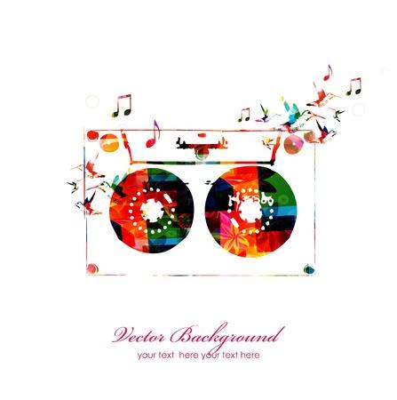Fondo de música colorido con cinta de música. Vector Foto de archivo - 38117091